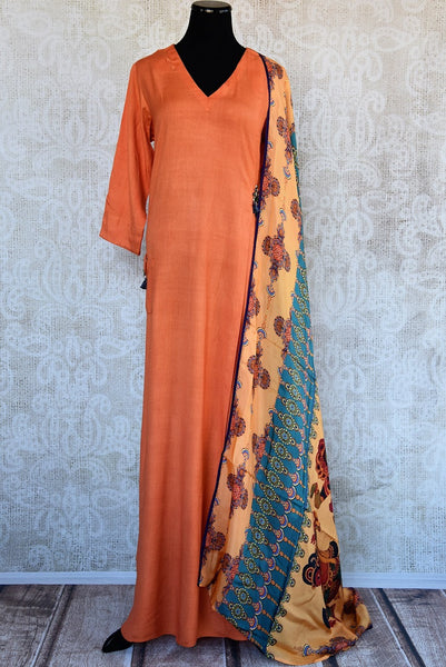 402023, Shop this Indian traditional orange cotton-silk dress from Pure Elegance with printed dupatta online or from our store in USA. Perfect for any wedding, reception or engagement. Front View.
