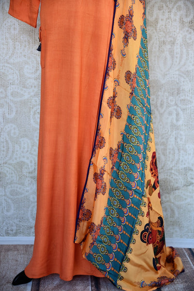 402023, Shop this Indian traditional orange cotton-silk dress from Pure Elegance with printed dupatta online or from our store in USA. Perfect for any wedding, reception or engagement. Close Up.