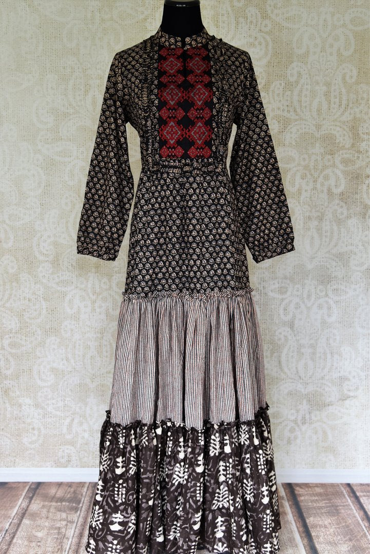 Shop elegant black Kalamkari print tiered cotton dress online in USA from Pure Elegance. Update your wardrobe with fashionable Indian designer clothing available at our Indian fashion store in USA. -full view