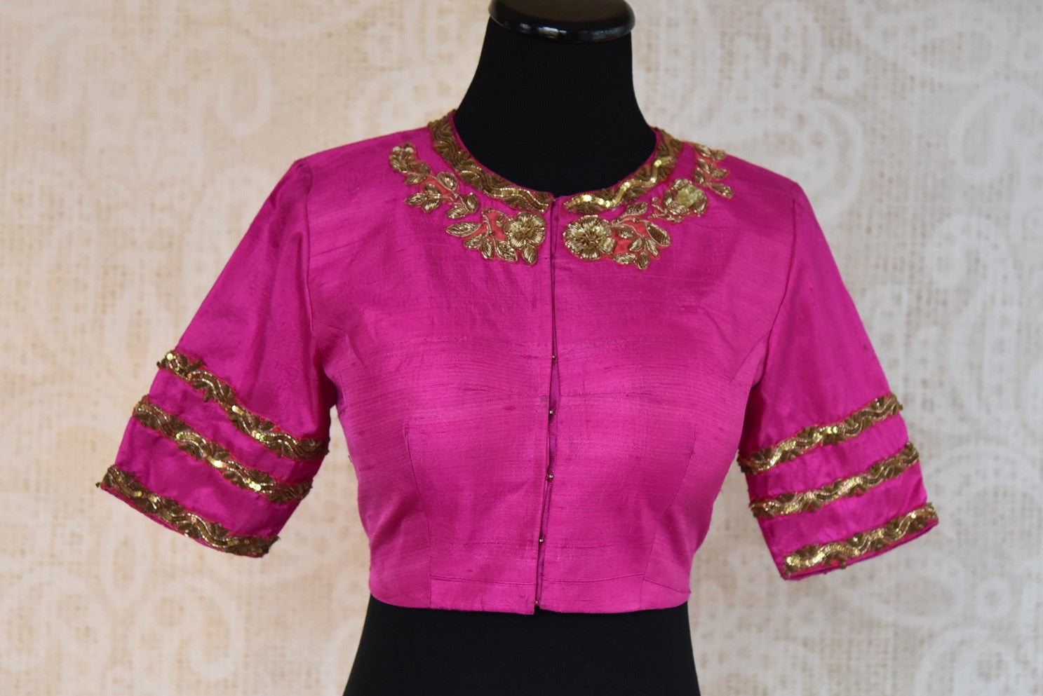 Buy this ethnic Indian round neck embroidered silk designer blouse from Pure Elegance online or from our store in Edison, near NJ. It is perfect for any wedding. Front View.