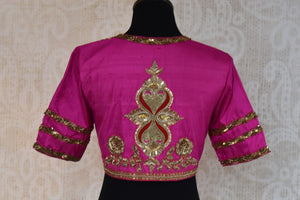 Buy this ethnic Indian round neck embroidered silk designer blouse from Pure Elegance online or from our store in Edison, near NJ. It is perfect for any wedding. Back View.