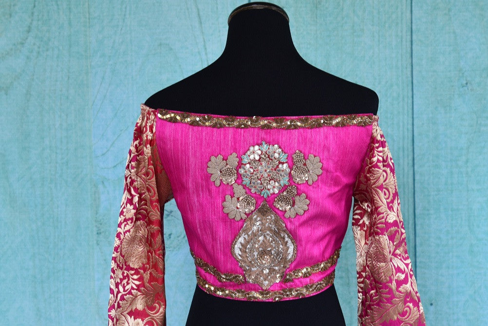 Shop this traditional Indian embroidered silk designer blouse from Pure Elegance online or from our store in USA. It is perfect for any wedding or engagement. Patch Work.