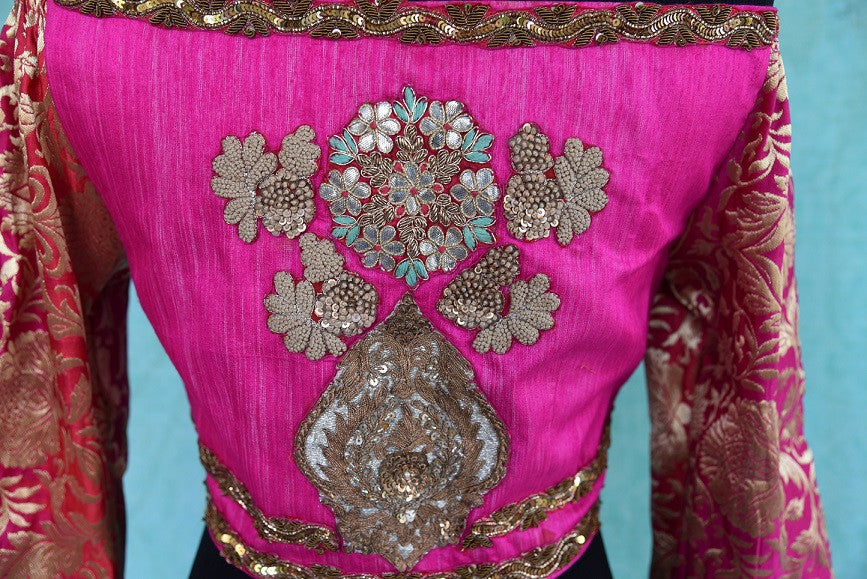 Shop this traditional Indian embroidered silk designer blouse from Pure Elegance online or from our store in USA. It is perfect for any wedding or engagement. Close up.