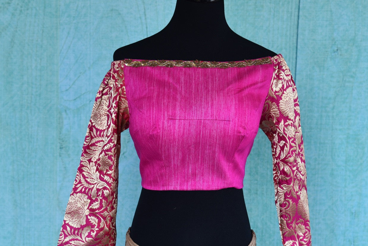 Shop this traditional Indian embroidered silk designer blouse from Pure Elegance online or from our store in USA. It is perfect for any wedding or engagement. Front View.