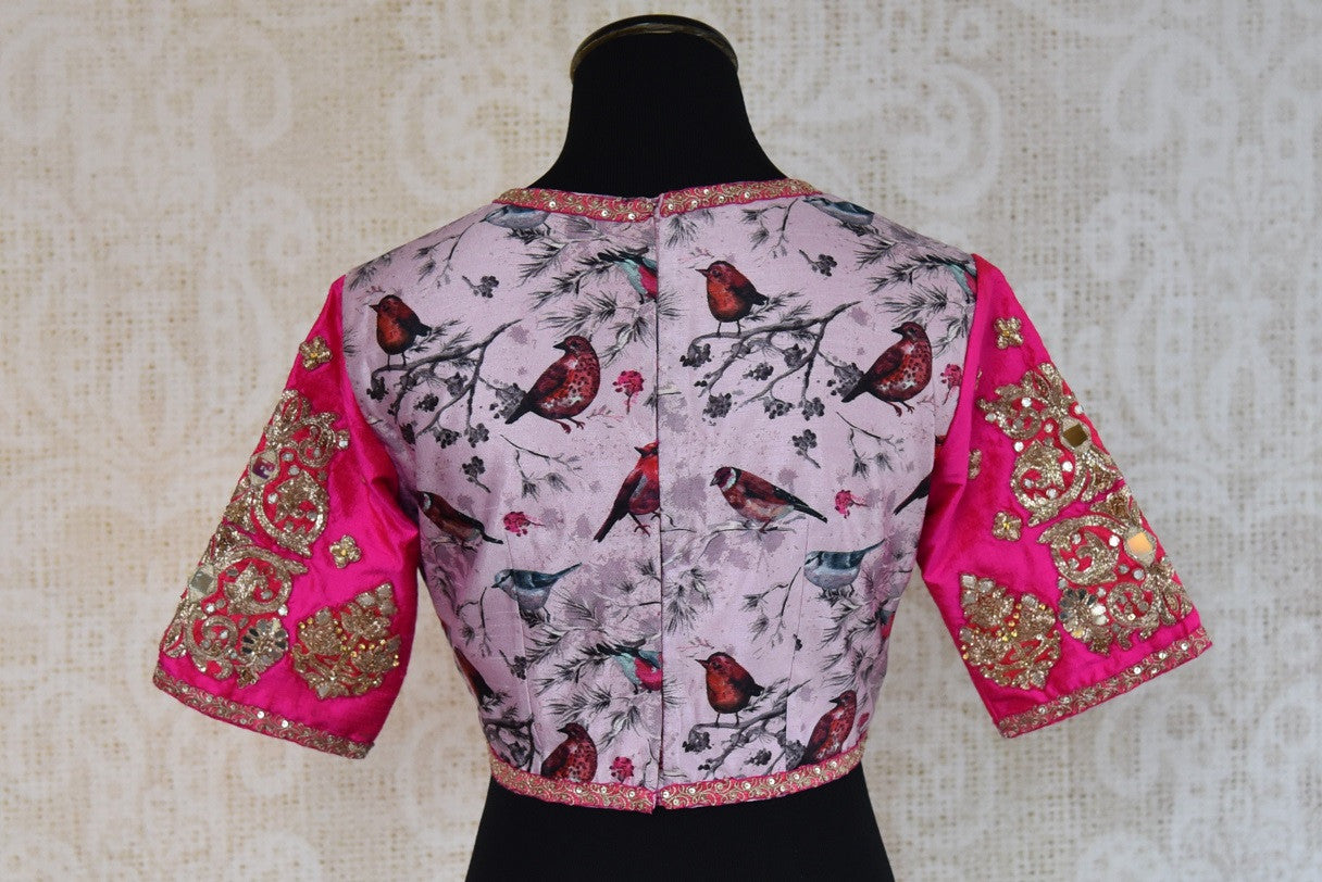 Buy this traditional Indian pink printed embroidered blouse from Pure Elegance online or from our store in USA. It is perfect for any sangeet party or wedding. Back View.