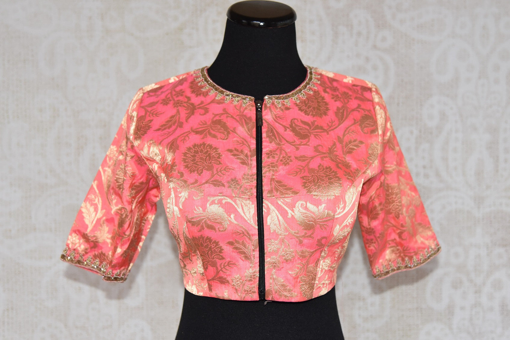 Buy this Indian traditional embroidered silk designer blouse from Pure Elegance online or our store in Edison near NJ. Perfect for any wedding or reception party. Front View.