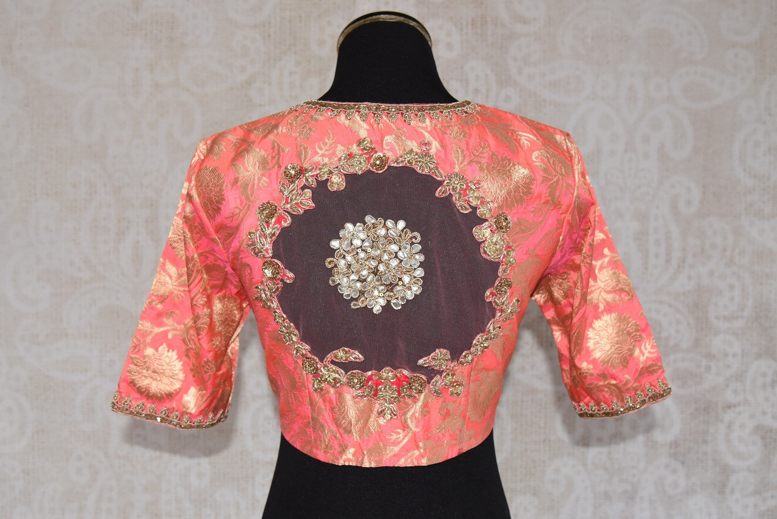 Buy this Indian traditional embroidered silk designer blouse from Pure Elegance online or our store in Edison near NJ. Perfect for any wedding or reception party. Patch Work.