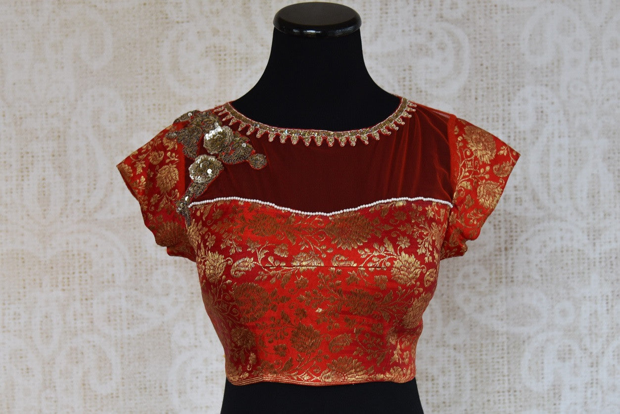 Shop this traditional Indian red crop top embroidered banarasi silk blouse perfect for any sangeet or engagement online or from our Pure Elegance store in USA. Front View.
