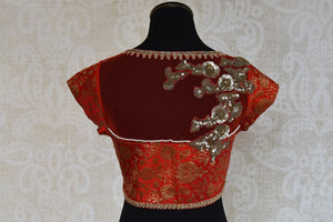 Shop this traditional Indian red crop top embroidered banarasi silk blouse perfect for any sangeet or engagement online or from our Pure Elegance store in USA. Back View.