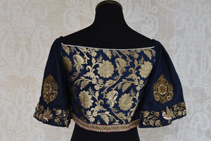 Buy this traditional Indian banarasi embroidered designer blouse from Pure Elegance online or from our store in USA. Perfect for any wedding or reception party. Top View.