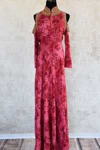 Cotton silk Indian long dress with embroidery on neck and shoulders. Perfect for casual gatherings.-full view