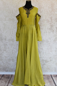 Designer Cotton silk green dress with  thread embroidery on neck and sleeves.Perfect evening party wear.-Full view