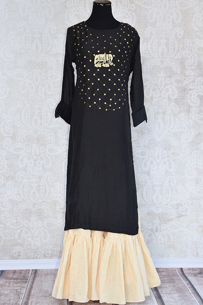 Cotton silk black kurta with thread elephant design embroidery and beige sharara style palazzo . Buy for casual events-full view
