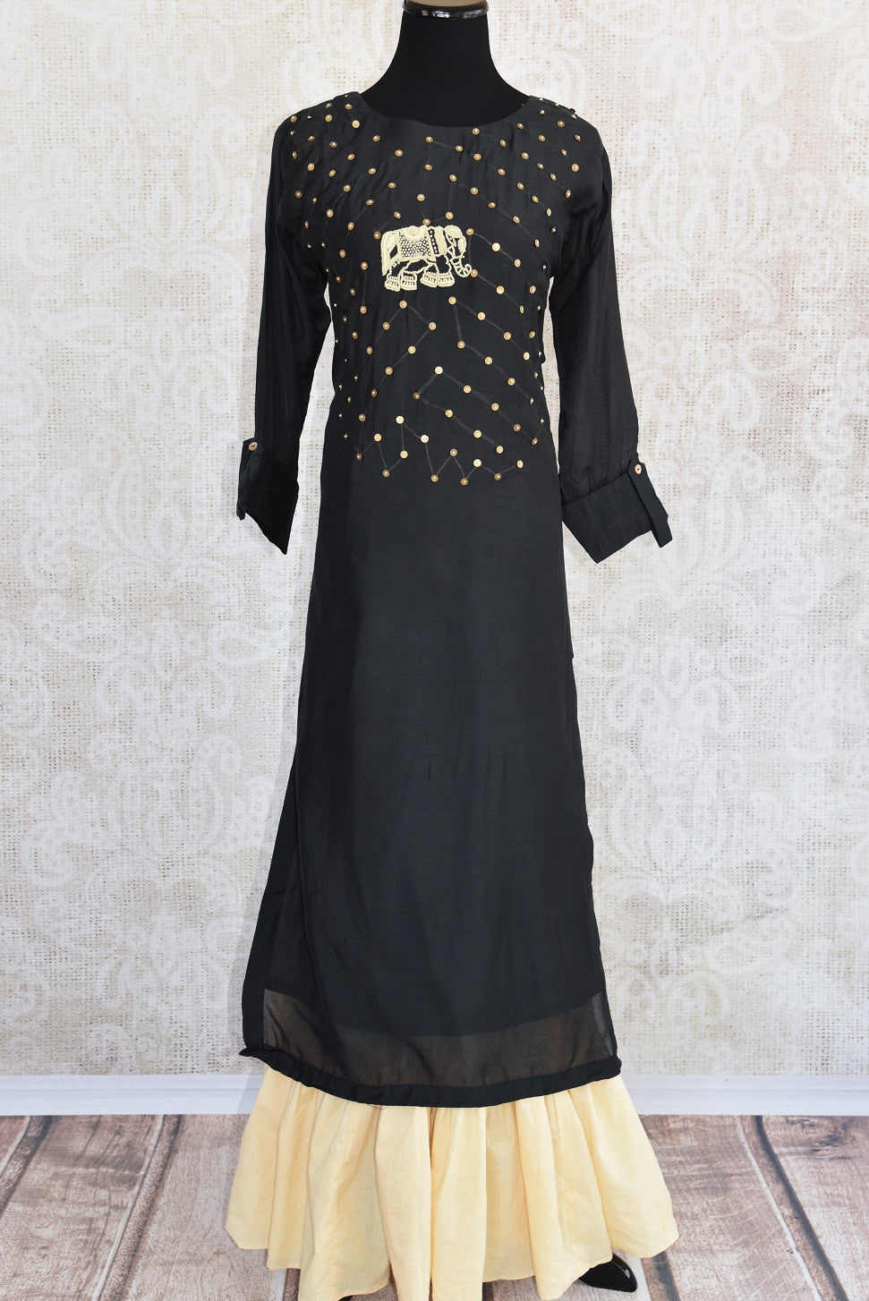 Black cotton silk with thread embroidery layered dress. Nice casual Indian dress perfect in summer.-full view