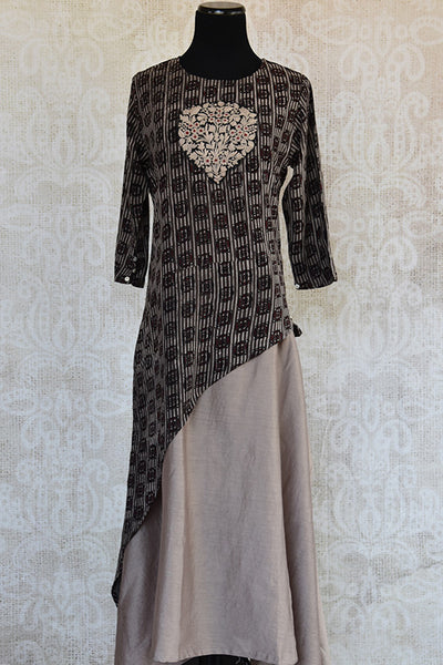 Glamorous Cotton grey dress with thread embroidery available at Indian clothing store Pure Elegance in USA. Perfect Indian casual dress for summer evening.  -full view