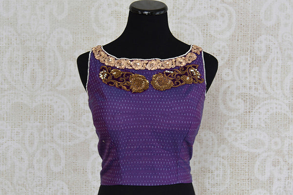 Purple silk ikkat embroidered blouse.  Very stylish crop top style pre stitched blouse with open back.-front