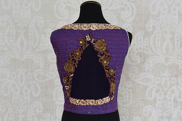 Purple silk ikkat embroidered blouse.  Very stylish crop top style pre stitched blouse with open back.-back