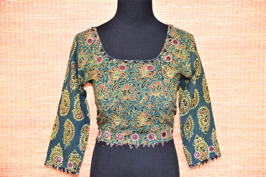 Shop ethnic dark green ajrak print cotton saree blouse online in USA with mirror work. Buy such ethnic saree blouse in USA from Pure Elegance Indian fashion boutique in USA.-front