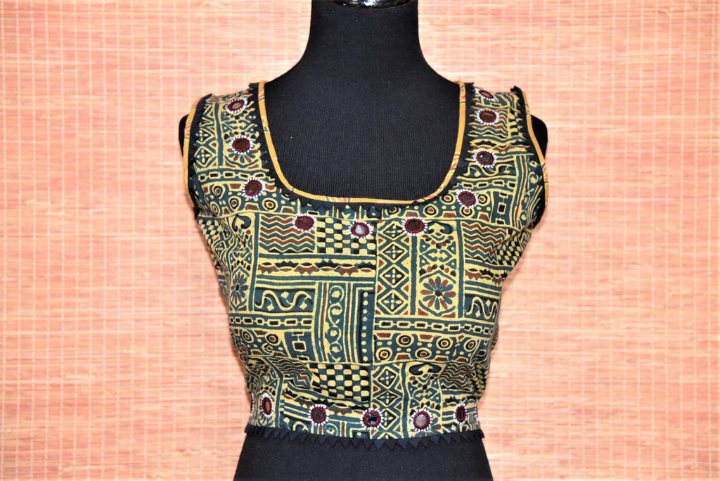 Buy green ajrak print cotton sleeveless sari blouse online in USA with mirror work. Buy such ethnic saree blouse in USA from Pure Elegance Indian fashion boutique in USA.-full view