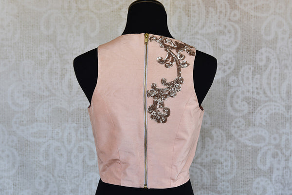 Pink with silver embroidery pre stitched silk blouse. Classy modern look blouse, perfect to match with saree. -back