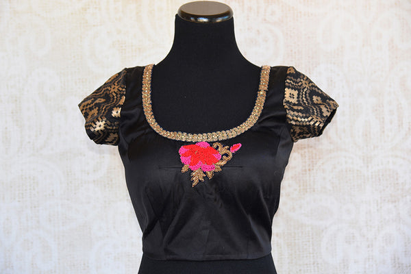 Classy black designer silk blouse with thread embroidery in front and back. Ethnic look deep neck blouse.-front