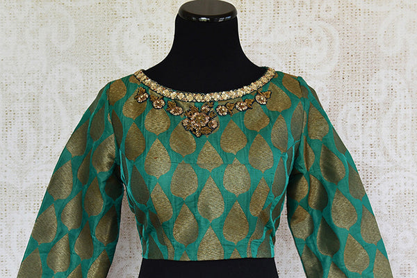 Green pre stitched embroidered banarasi silk blouse. Pair this with any silk saree or skirt.-full view