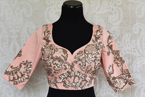 Peach pink embroidered silk blouse. Pair this classy party blouse with saree or lahenga-full view