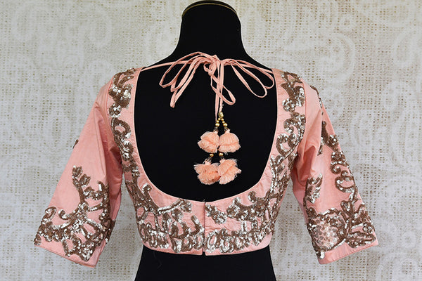 Peach pink embroidered silk blouse. Pair this classy party blouse with saree or lahenga-back