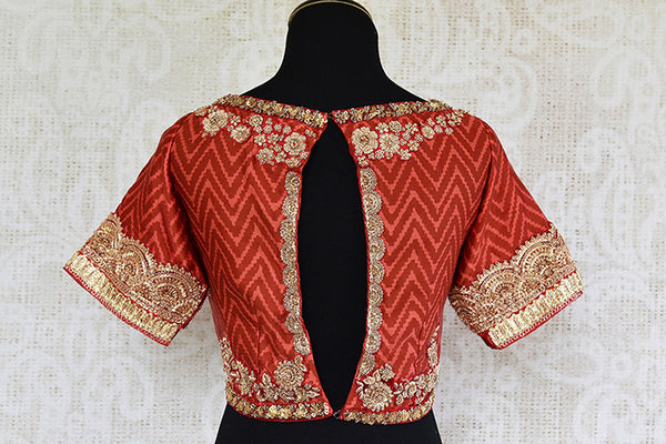 Red maroon cotton silk pre stitched blouse with gold embroidery. Perfect blouse in this fashion era-back