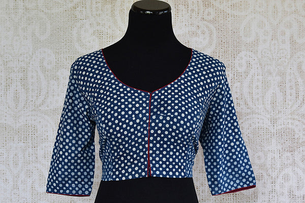 Blue printed pre stitched cotton embroidered blouse. Pair this blouse with linen or matka saree-Front