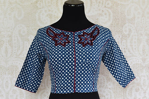 Blue and white printed cotton blouse with applique embroidered online