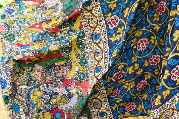Buy ethnic multicolor handpainted Kalamkari dupatta online in USA from Pure Elegance. Shop from our store exquisite Indian dresses for women in USA for every occasion.-details