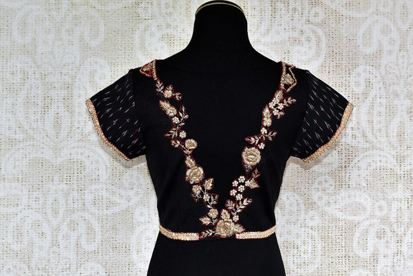 Buy versatile Black Cotton Blouse online with Zardozi Lace from Pure Elegance Store. Indian sarees blouses, black saree blouses, designer blouse online in USA. -back