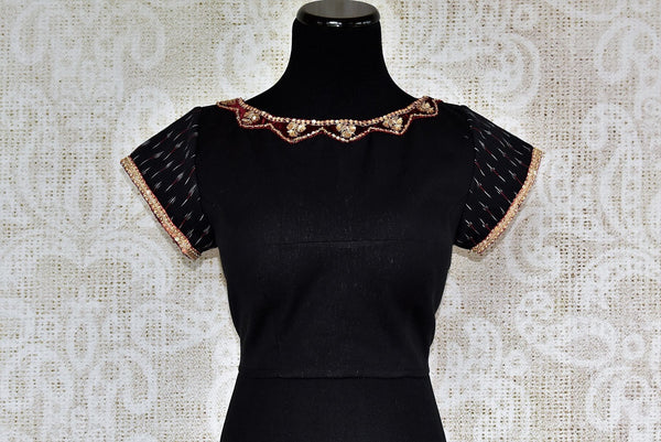 Buy versatile Black Cotton Blouse online with Zardozi Lace from Pure Elegance Store. Indian sarees blouses, black saree blouses, designer blouse online in USA. -front