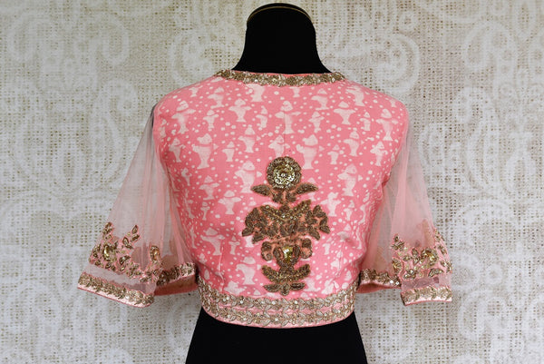 Buy Pink Readymade Chanderi Blouse online from Pure Elegance store. Beautiful Indian Chanderi blouses in a variety of designs online. Buy Readymade Blouses online.-back