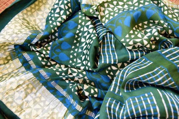 Buy green and blue gajji silk Ajrak print dupatta online in USA from Pure Elegance. Shop from our store exclusive Indian clothing for women in USA for every occasion.-closeup