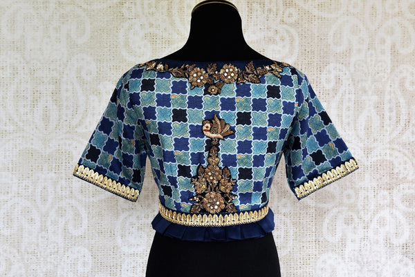 Buy stylish Blue Embroidered Blouse online from Pure Elegance store. Indian Blouses in unique styles and designs to match your sarees in USA. Readymade blouses online.-back