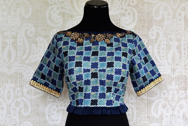 Buy stylish Blue Embroidered Blouse online from Pure Elegance store. Indian Blouses in unique styles and designs to match your sarees in USA. Readymade blouses online.-front