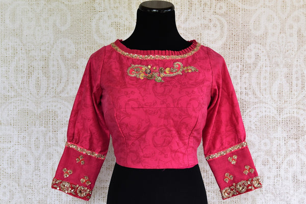 Stylish Designer Blouses online at Pure Elegance. Shop Pink Embroidered Designer Blouse online with sheer back. Indian Saree Blouses in various designs online.-front