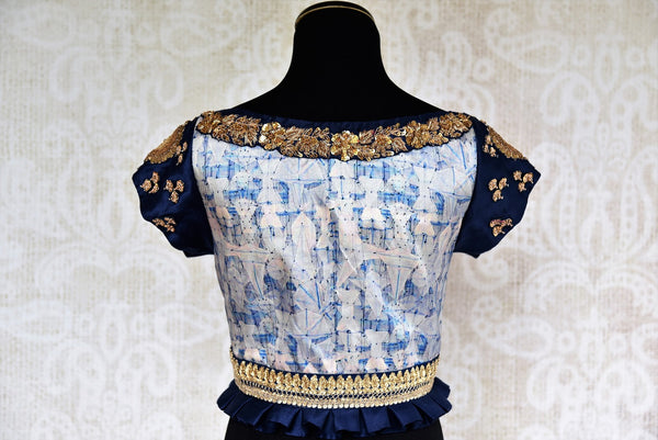 Buy stylish blue silk saree blouse online with zardozi embroidery. Pure Elegance brings Indian saree blouses online and in store for women in USA with stylish designs.-back