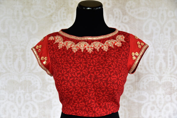 Pure Elegance brings Indian designer saree blouses online for women in USA. Shop elegant red chanderi saree blouse online, perfect for various occasions.-front