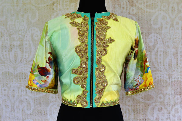 Buy light green printed embroidered satin silk sari blouse online in USA. Pure Elegance store brings an alluring range of Indian readymade designer blouses in USA for women.-back