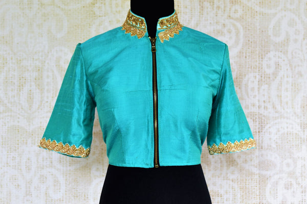 Buy light blue embroidered saree blouse online in USA. Pure Elegance store brings an alluring range of Indian readymade designer sari blouses in USA for women.-front