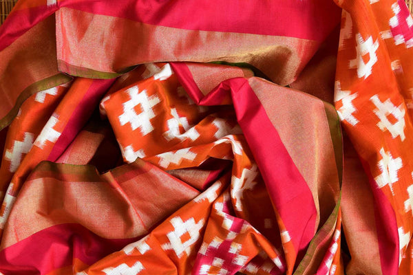 Buy orange and pink double ikkat silk dupatta online in USA from Pure Elegance. Our Indian fashion store brings a stunning range of ethnic dupattas in USA for women.-details