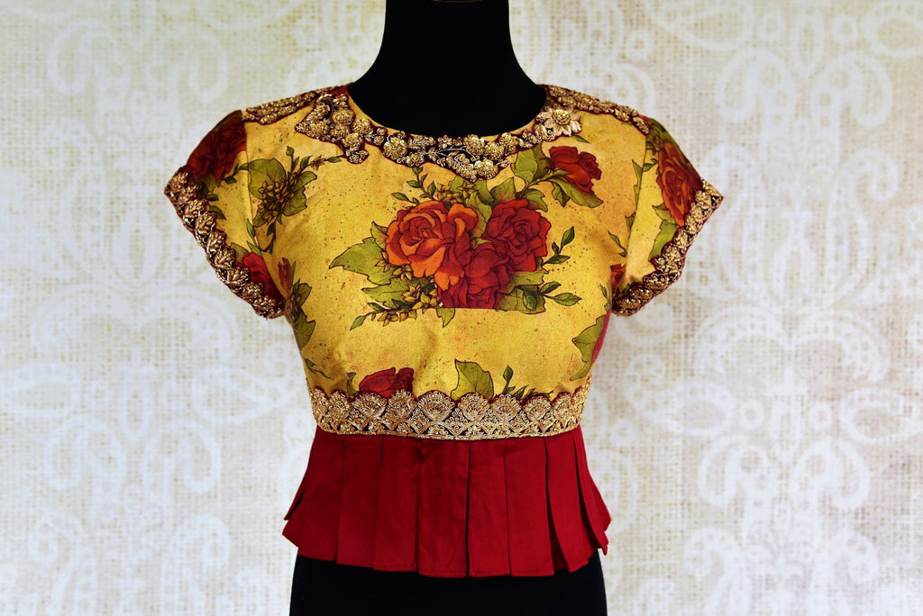 Buy yellow and red printed embroidered silk blouse online in USA at Pure Elegance. Our Indian fashion store brings readymade designer blouses in USA for women.-front