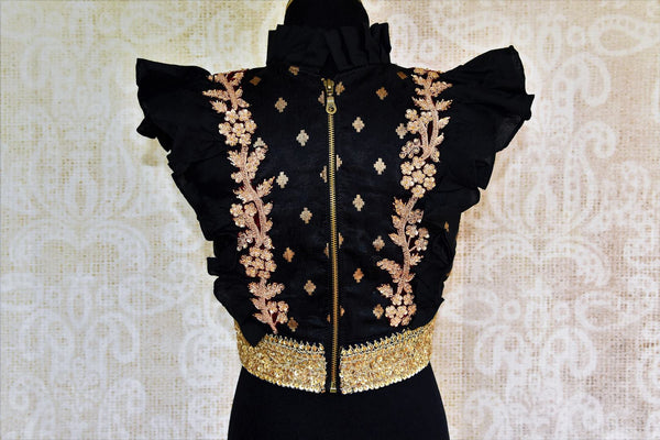 Buy black embroidered silk blouse online in USA at Pure Elegance. Our Indian fashion store brings exclusive range of designer Indian saree blouses in USA for women-back