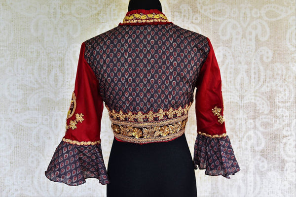 Buy blue and red printed embroidered silk blouse online in USA at Pure Elegance. Our Indian fashion store brings exclusive range designer saree blouses in USA for women.-back