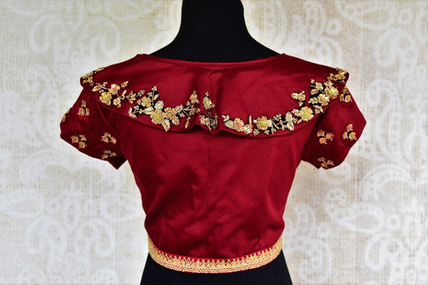 Buy maroon embroidered silk blouse online in USA at Pure Elegance. Our Indian fashion store brings an exclusive range of readymade saree blouses in USA for women.-back