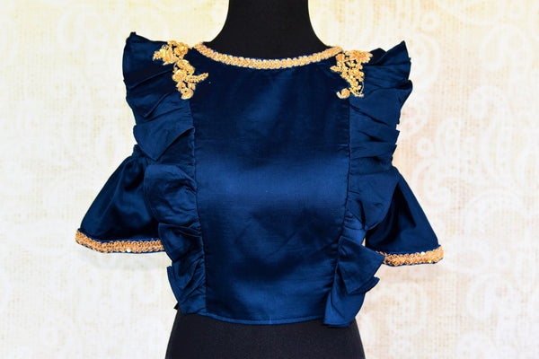 Buy blue embroidered silk blouse online in USA with cold shoulder sleeves. Pure Elegance fashion store brings a range of ready-made Indian saree blouses in USA.-front