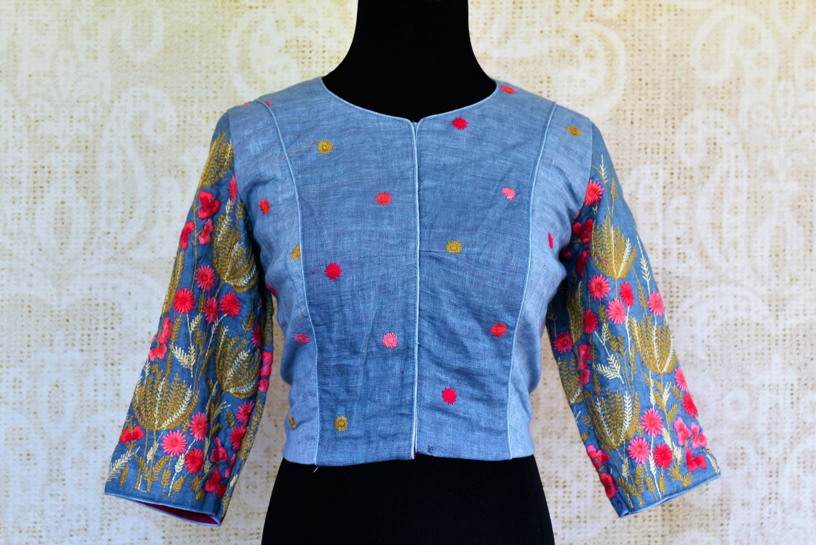 f2bb4b0eef671 Buy blue embroidered cotton blouse online in USA. Pure Elegance indian fashion  store brings an